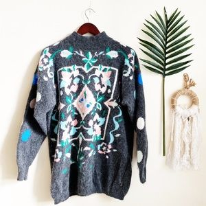 Vintage Lambswool Rabbit Hair Patterned Sweater